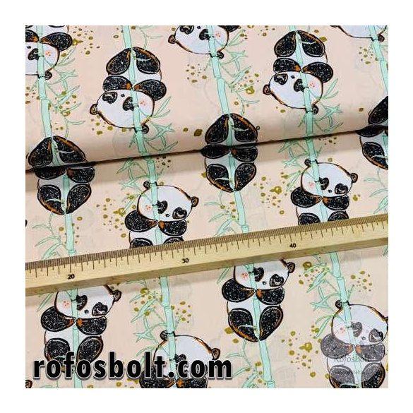 Halvány rózsaszín/barackos a. Bamboo pandák arany nyomással 160 cm sz. pamutvászon (FTME4269)