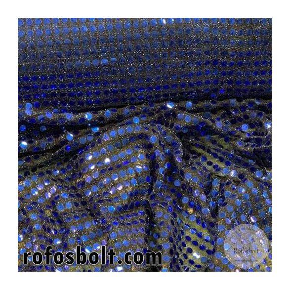 Kék flitteres elasztikus mesh (ME4281)