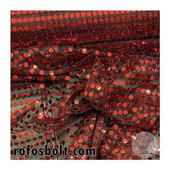 Piros flitteres elasztikus mesh (ME4282)
