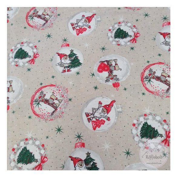 Natúr alapon törpés karácsonyi dekortextil (ME4290)