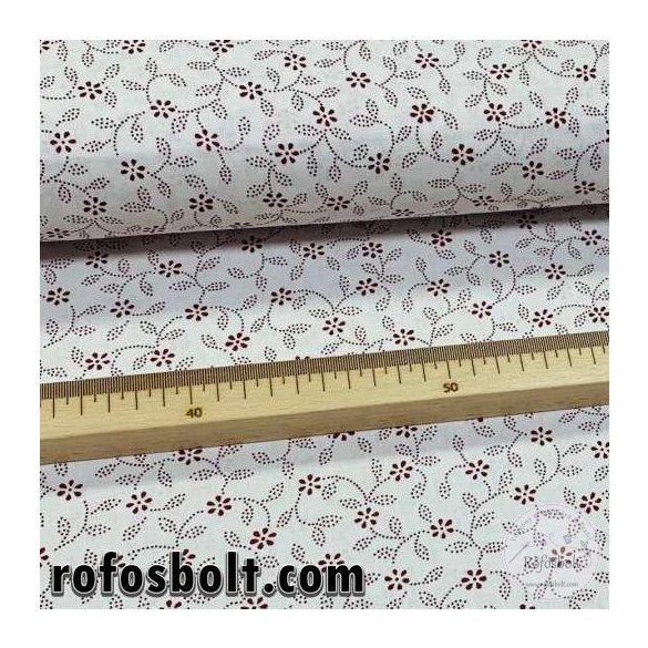 Fehér alapon bordó virágos, pöttyökből álló leveles pamutvászon 7420-1 Bordeau(ME4296)