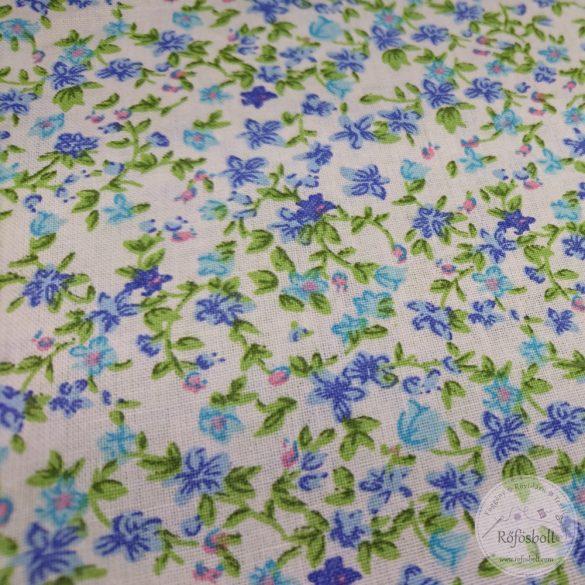 Csilla csillag virágai fehér alapon kék virágos pamutvászon (ME4349)