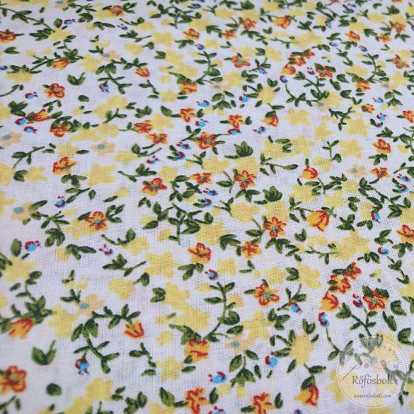 Csilla csillag virágai fehér alapon sárga,narancs virágos pamutvászon (ME4350)