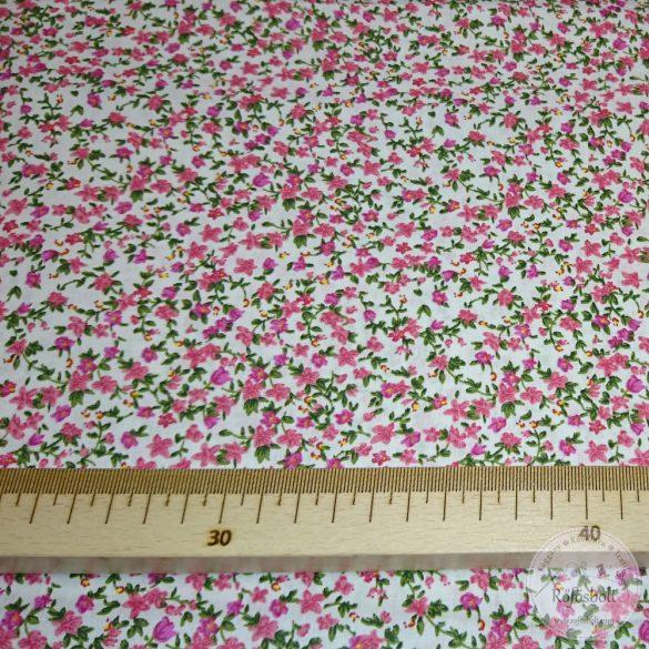 Csilla csillag virágai fehér alapon rózsaszín virágos pamutvászon (ME4351)