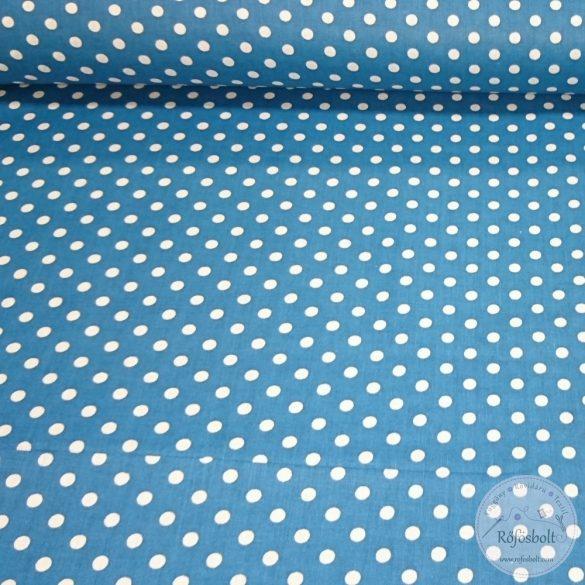 Mozaik kék alapon fehér (6mm) pöttyös pamutvászon (ME4357)