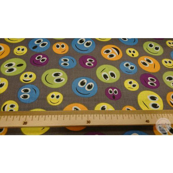 Szürke alapon színes Smile-s pamutvászon (ME4358)