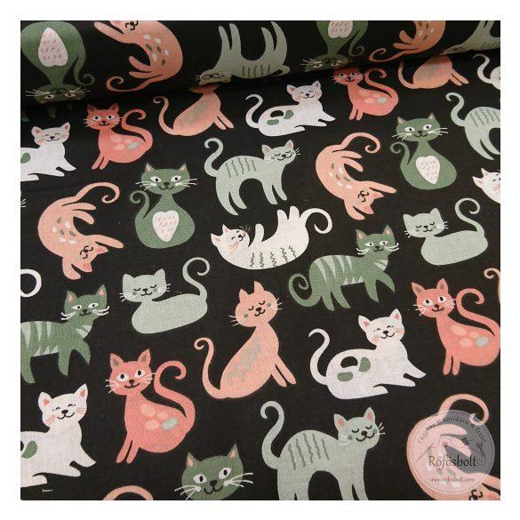 Játékos cicák ,barack-szürke-zöld fekete alapon pamutvászon (ME4360)