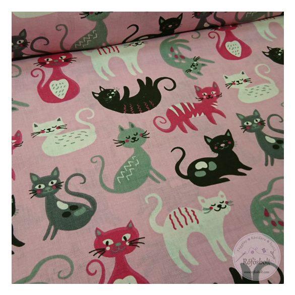 Játékos cicák ,pink-szürke rózsaszín alapon pamutvászon (ME4361)