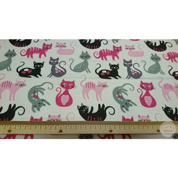 Játékos cicák ,pink-szürke fehér alapon pamutvászon (ME4362)