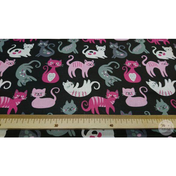 Játékos cicák ,pink-szürke fekete alapon pamutvászon (ME4363)