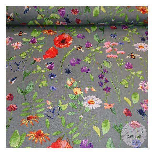Réti csendélet virágok,méhecske,pillangó szürke alapon 160 cm sz. pamutvászon (ME4366)