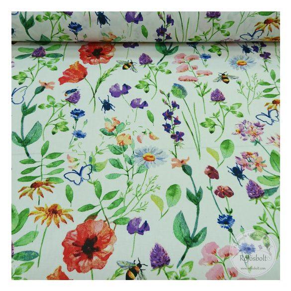 Réti csendélet virágok,méhecske,pillangó fehér alapon160 cm sz. pamutvászon (ME4367)