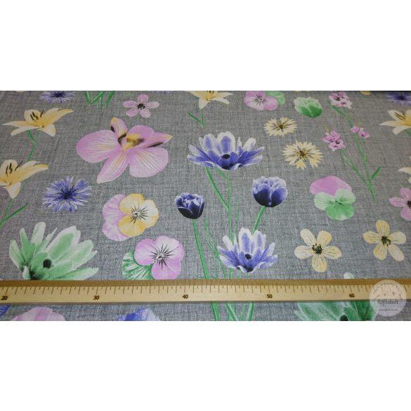 Kerti virágok szürke szőttes alapon 160 cm sz. pamutvászon (ME4368)