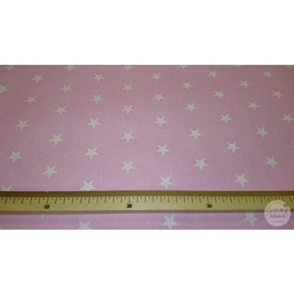Rózsaszín alapon fehér nagyobb csillagos 160 cm sz. pamutvászon (ME4369)