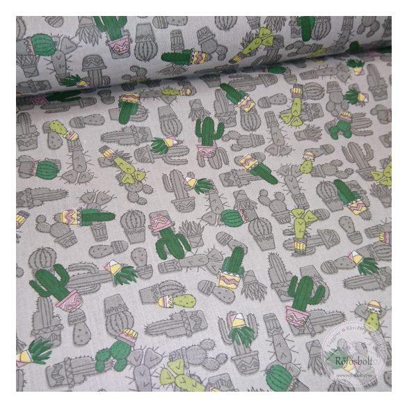 Szürke alapon kis kaktuszos pamutvászon (ME4371)