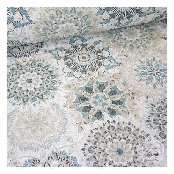 Malu kék drapp mandalás dekortextíl (ME4396)