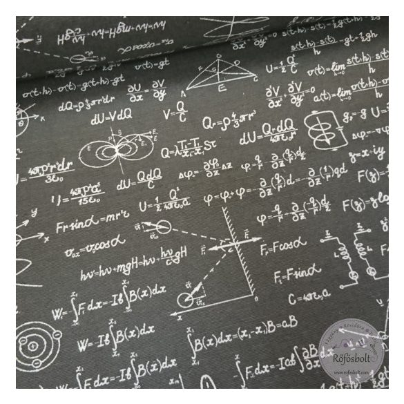 Fekete alapon fizika tételes dekortextil (ME4398)