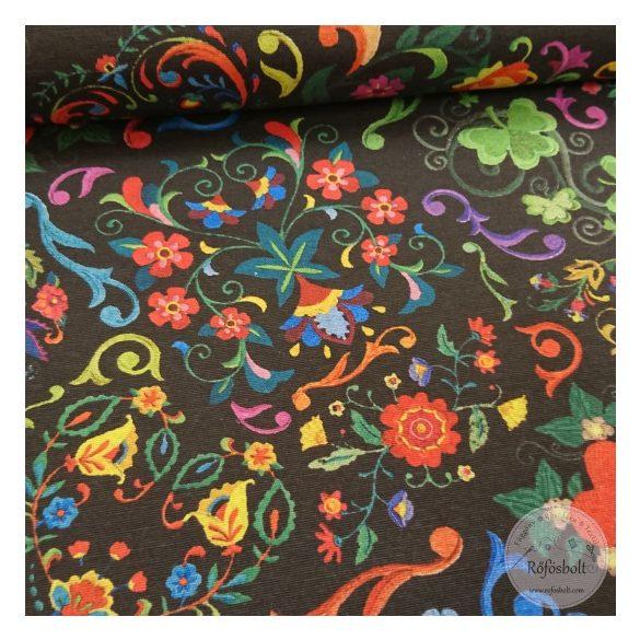 Folklór fekete alapon színes virágokkal dekortextil (ME4399)