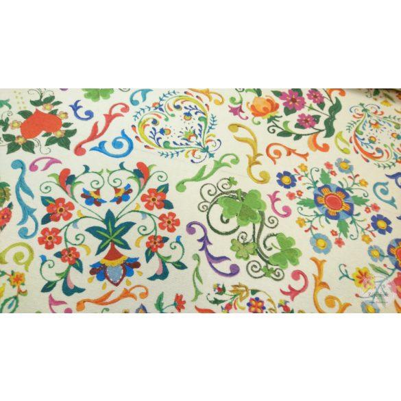 Folklór fehér alapon színes virágokkal dekortextil (ME4400)