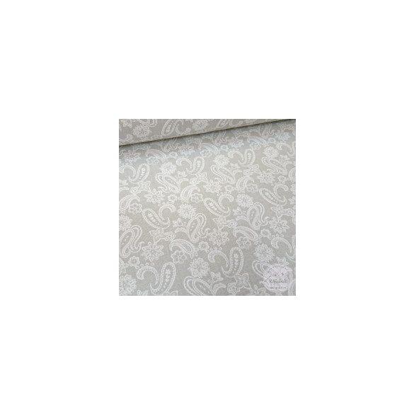 Világosszürke alapon fehér török csipke mintás dekortextil (ME4405)