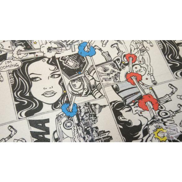 Fekete fehér kék piros Comic City dekortextil (ME4410)