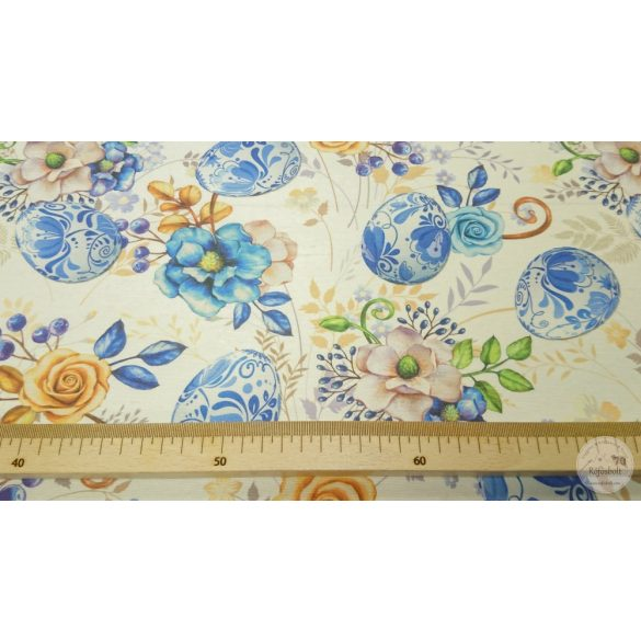 Fehér alapon kék porcelántojásos dekortextil (ME4437)