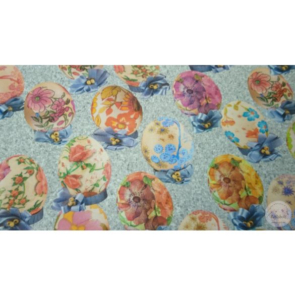 Szürkés alapon tojások festett virágokkal dekortextil (ME4439)