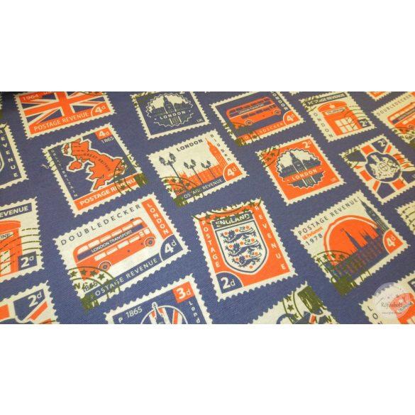 Királykék alapon királyi bélyegek dekortextil (ME4444)