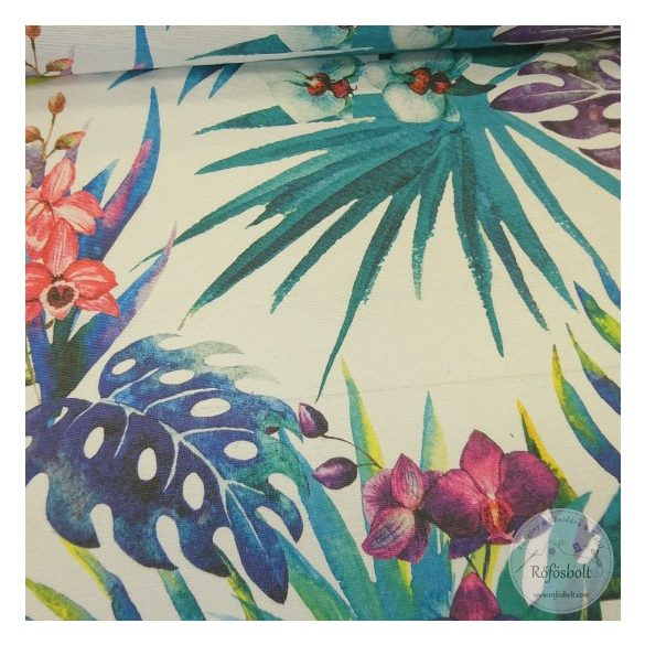 1,09 m EGYBEN KÉRHETŐ Hawaii életérzés lila zöld pálmalevelekkel dekortextil (ME4450)