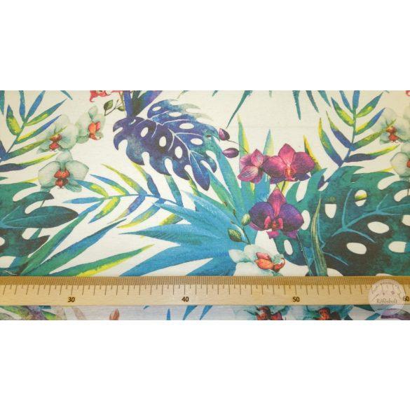 Hawaii életérzés lila zöld pálmalevelekkel dekortextil (ME4450)