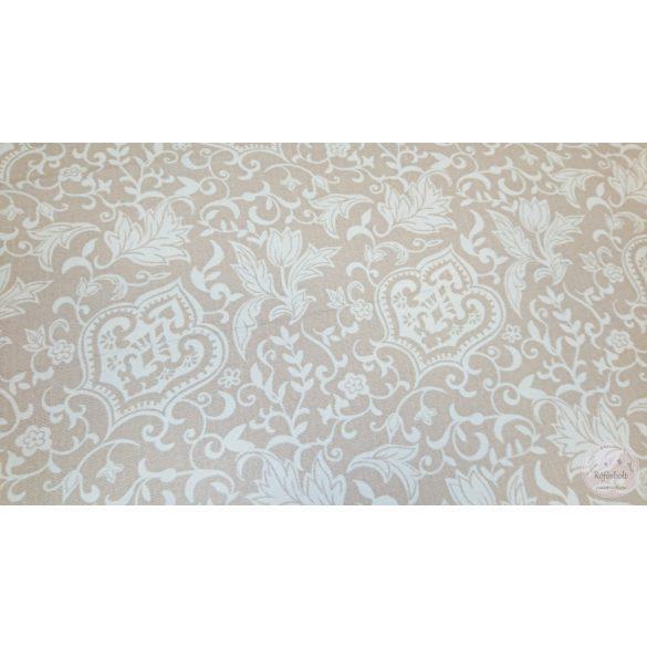 1,4 m EGYBEN KÉRHETŐ Fehér címervirág indákkal világos drapp alapon dekortextil (ME4451)