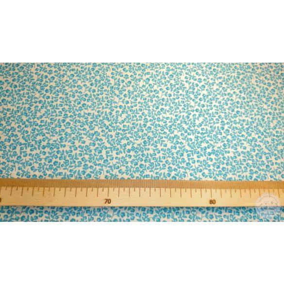 Kék iszalag virágos pamutvászon fehér alapon (ME4461)