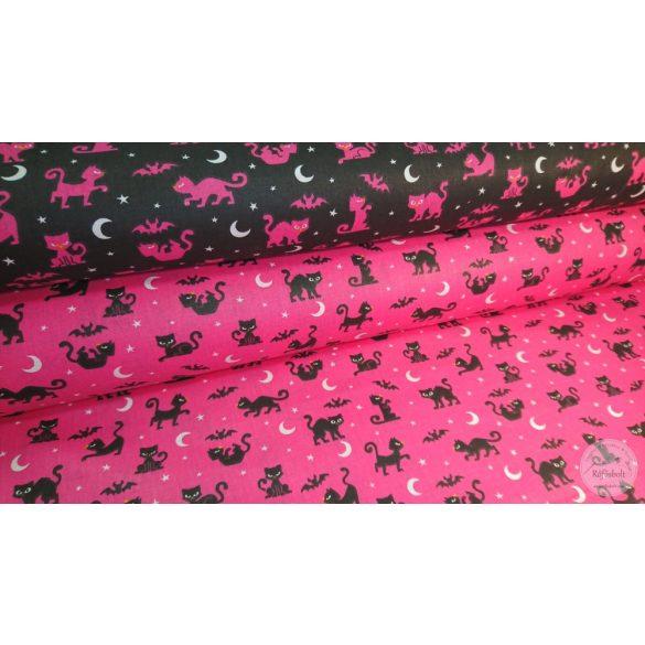 Drakula cicája pink alapon pamutvászon (ME4464)