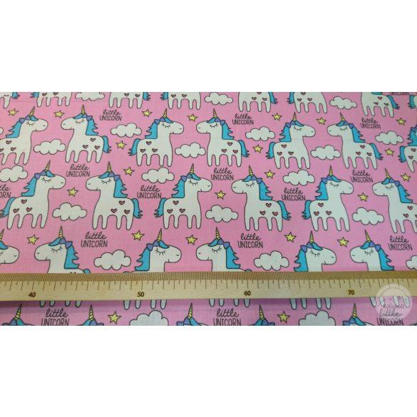 Little Unicorn rózsaszín alapon pamutvászon (ME4469)