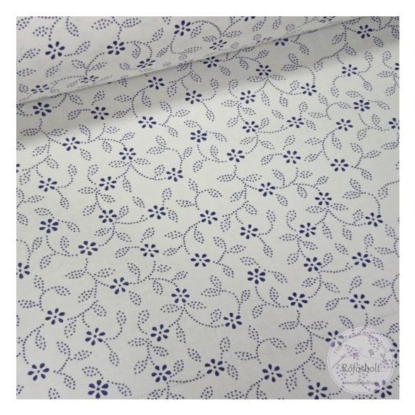 Kék pöttyökből álló virágos leveles pamutvászon fehér alapon (ME4471)