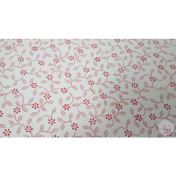 Piros pöttyökből álló virágos leveles pamutvászon fehér alapon (ME4472)
