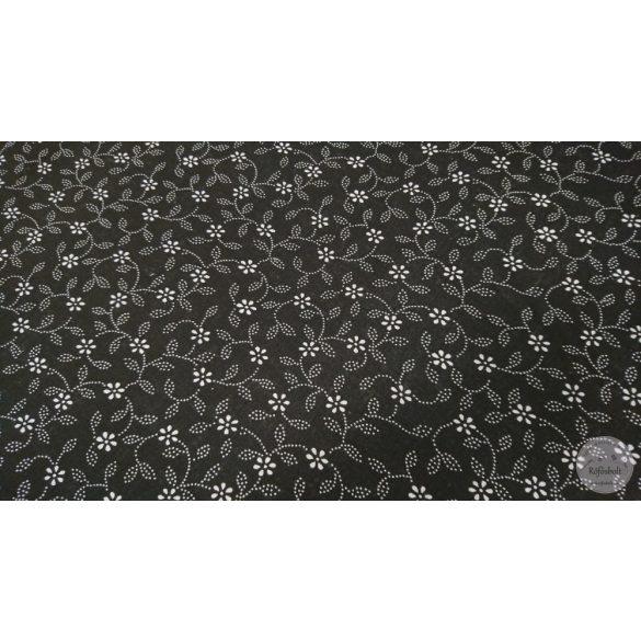 Fehér pöttyökből álló virágos leveles pamutvászon fekete alapon (ME4473)