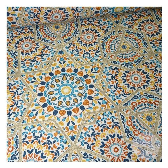 Marokkói csempe narancs, drapp árnyalatokban dekortextil (ME4477)