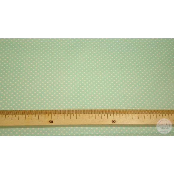 Világos aqua zöld alapon kis pöttyös pamutvászon (ME4479)