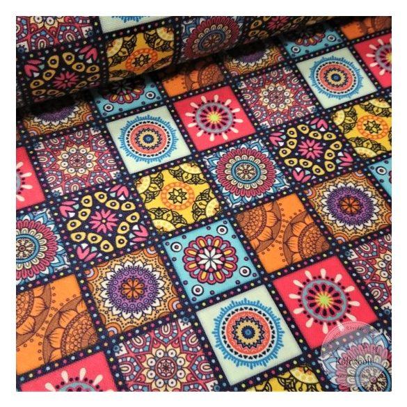 Carneval mozaik, élénk színekkel, kockás vízlepergető szövet (ME4482)