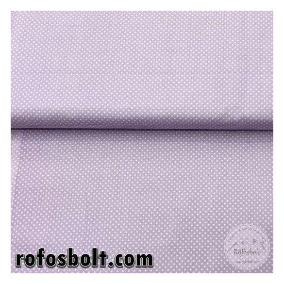 Világos lila alapon fehér kispöttyös (2mm) pamutvászon (ME757)