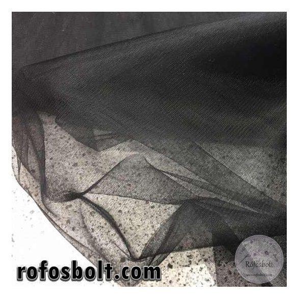 Fekete elasztikus fátyol tüll (ME964)