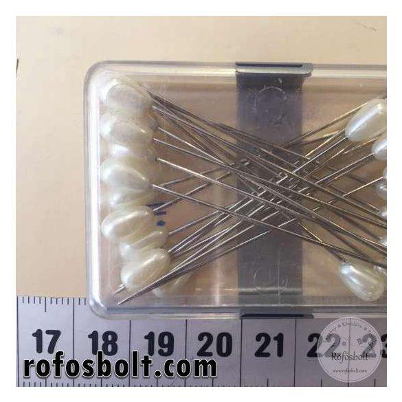 Gombostű: gyöngyházfehér műanyag NAGY fejű (51 mm-es)