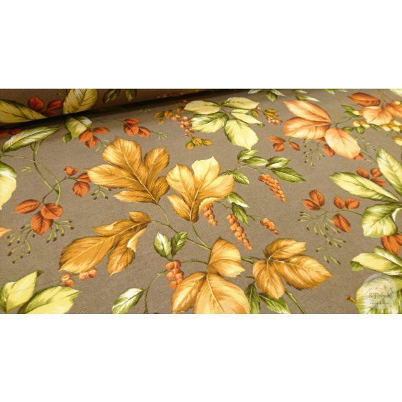 Őszi levelek sötét drapp alapon dekortextil (ME4386)