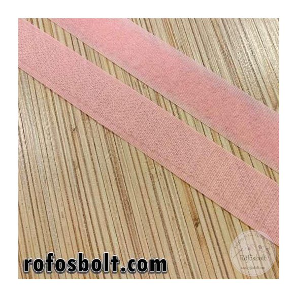 Rózsaszín varrható tépőzár, 2 cm széles