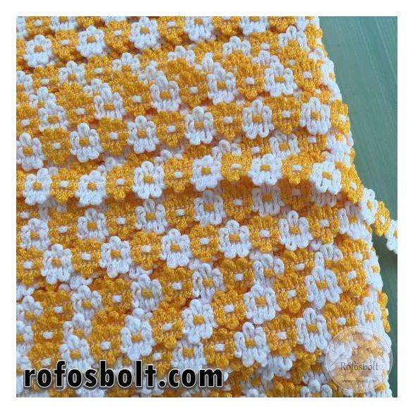 Sárga-fehér virágos díszítőszalag (1 cm széles)