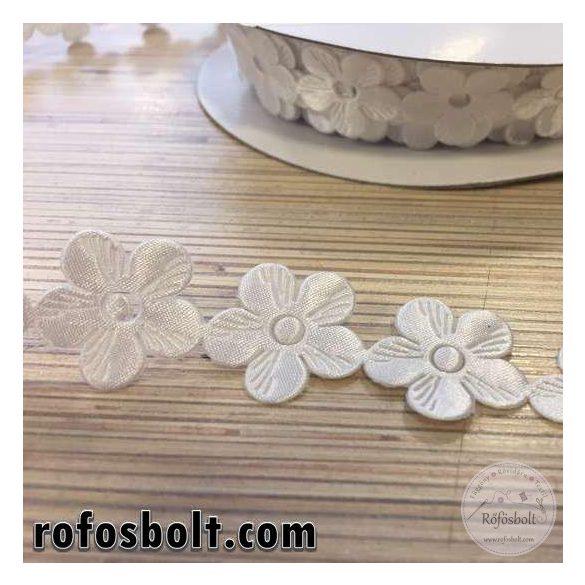 Fehér szatén virág szalag (22 mm széles)