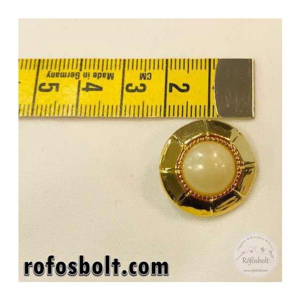 Szögletes aranykeretes gyöngyház fehér gomb